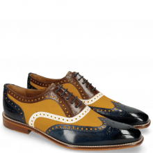 Oxford Schuhe Leonardo 21 Navy Canvas Kumquat Vegas White Dark Brown