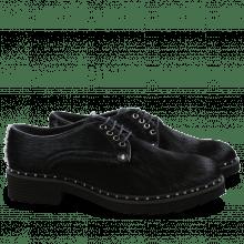 Derby Schuhe Sissy 1 Black Rivets Nickel