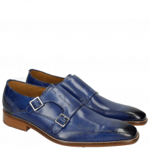 Monk Schuhe Clark 12 China Blue Lasercut LS Natural
