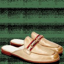 Pantoletten Scarlett 46 Glove Nappa Ivory Tan Trim Gold