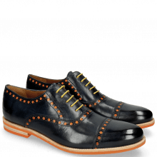 Derby Schuhe Scott 15  Navy Underlay Patent Fluo Orange