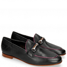 Loafers Scarlett 45 Glove Nappa Black Binding Fluo Pink