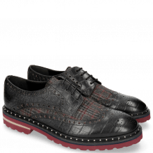 Derby Schuhe Matthew 4 Big Croco Black Textile Retro