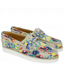 Loafers Ally 1 White Embrodery Flower