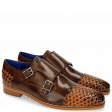 Monk Schuhe Lewis 16 Mid Brown Interlaced Orange