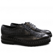 Derby Schuhe Matthew 4 Big Croco Hair On Black Black Aspen EVA Black Rivets