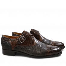 Monk Schuhe Henry 11 Crock Suede Croco Dark Brown