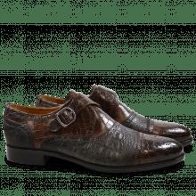 Monk Schuhe Henry 11 Crock Suede Croco Dark Brown