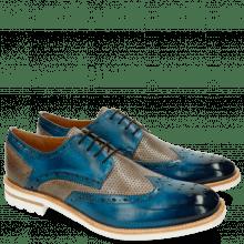 Derby Schuhe Eddy 5 Perfo Bluette Morning Grey Aspen White