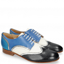 Derby Schuhe Sally 15 Vegas Navy Nappa Aztek Silver Perfo White Neptune Blue