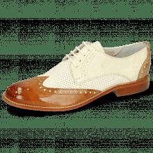 Derby Schuhe Amelie 3 Vegas Tan Perfo White Nude Sand
