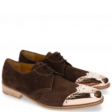 Derby Schuhe Lance 4 MTC MTC Suede Pattini Dark Brown LS Raw