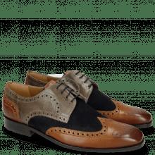 Derby Schuhe Xander 5 Rio Wood Stone Suede Pattini Perfo Navy