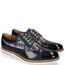 Derby Schuhe Tom 22 Navy Textile Check Multi