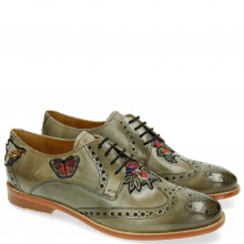 Derby Schuhe Amelie 46 Clear Water Embrodery FBB