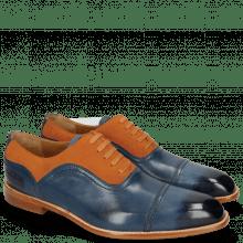 Oxford Schuhe Jacob 2 Navy Suede Pattini Orange