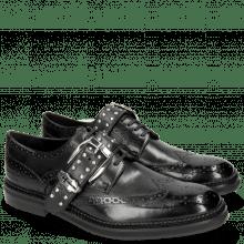 Derby Schuhe Eddy 37 Black Rivets Nickel Sword