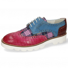Derby Schuhe Matthew 29 Crock Dark Pink Plum Tex Check Mid Blue