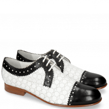 Derby Schuhe Sally 107 Black Nappa Perfo White