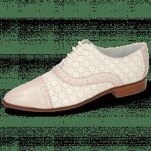 Derby Schuhe Jessy 54 Nappa Pink Sky Cream Perfo White