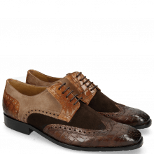 Derby Schuhe Rico 16 Venice Crock Dark Brown Wood Suede Pattini Brown Cognac