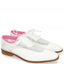 Oxford Schuhe Sara 1 Milled White Big Net Fluo Pink