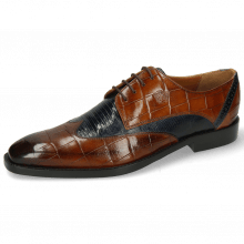 Derby Schuhe Martin 7 Turtle Wood Lizzard Navy