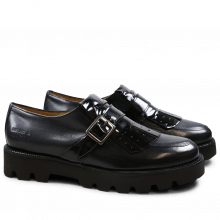 Monk Schuhe Kelly 14 Black Strap Black