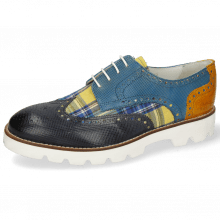 Derby Schuhe Matthew 29 Dice Navy Tex Check Tropical Bluette Crock Yellow