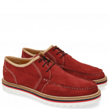 Derby Schuhe Jack 12 Suede Pattini Red Binding