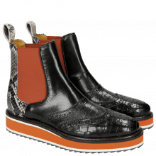 Stiefeletten Molly 5 Crock Snake Black White Elastic Orange