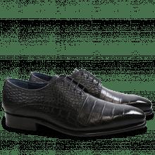 Derby Schuhe Stanley 2 Croco Black LS