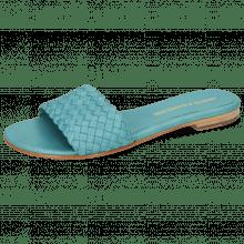 Pantoletten Hanna 26 Woven Turquoise LS Beige