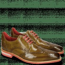 Derby Schuhe Dave 2 Olive Rivets Skull