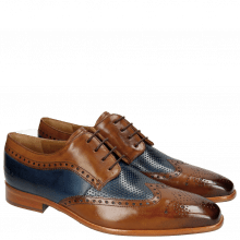 Derby Schuhe Ethan 10 Wood Perfo Navy