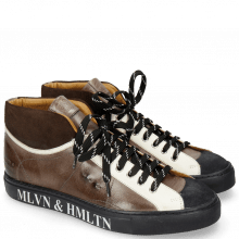 Sneakers Harvey 13 Suede Pattini Navy Brown Stone Vegas White