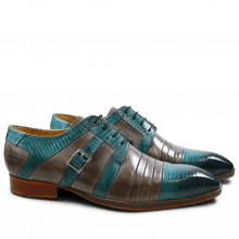 Derby Schuhe Ricky 2 Guana Turquoise Crust Morning Grey LS