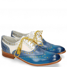Oxford Schuhe Amelie 70 Vegas Mid Blue Wind Timor Silver White