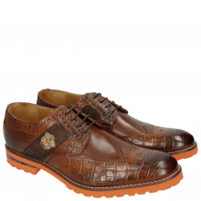 Derby Schuhe Eddy 25R Big Croco Brown Embrodery