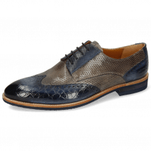 Derby Schuhe Bobby 1  Croco Marine Alcohol Finishing Perfo Grigio