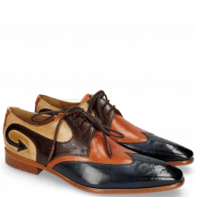 Derby Schuhe Elvis 63 Navy Electric Orange Dark Brown Nude