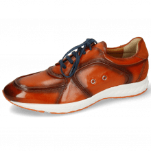 Sneakers Blair 18 Pisa Orange Brown Suede Pattini Electric Blue