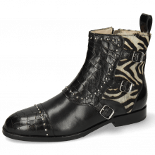 Stiefeletten Susan 45 Crock Black Hairon New Zebra