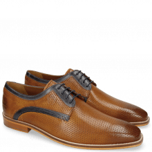 Derby Schuhe Alex 10 Berlin Perfo Tan Berlin Navy
