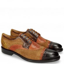 Derby Schuhe Henry 7 Big Croco Mid Brown Winter Orange Lima Ocra Tan Python