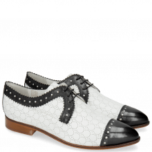 Derby Schuhe Jessy 37 Black Nappa Perfo White