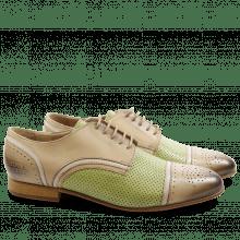 Derby Schuhe Sally 40 Salerno Cappu Perfo Lemon Binding Off White LS