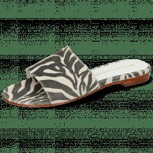Pantoletten Hanna 62 Suede Zebra Off White