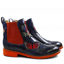 Stiefeletten Amelie 44 Crust Navy Embrodery Elastic Orange Rook D Orange
