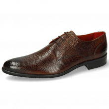 Derby Schuhe Toni 1 Baby Croco Mid Brown Modica Navy
